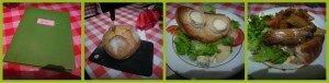 Chez les ploucs : menu, miche de pain, salade fermière, croustille de porc