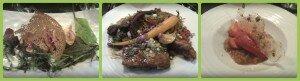 Tempero : mi-cuit de saumon, travers de porc et nouilles, sorbet à la fraise et sa compote