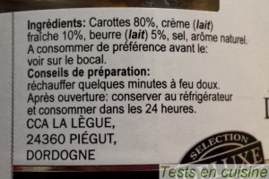Mousseline de carottes Deluxe Lidl : ingredients