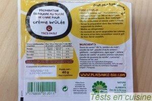 Crème brûlée Plaisance Bio : le sachet