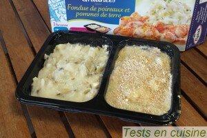 Saint-Jacques gratinées et fondue de poireaux Tipiak : avant cuisson