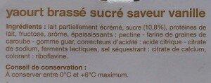 Ingrédients des yaourts brassés saveur vanille Auchan (source : Open Food Facts)