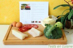 Cabillaud, écailles de chorizo et gratin de brocoli : les ingrédients