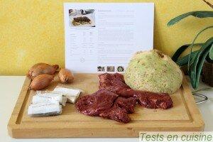 Émincé d'onglet de bœuf aux échalotes et céleri rave rôti, sauce aux poivres : les ingrédients