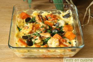 gratin de courge aux fruits de mer